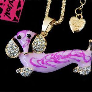 Pink Dachshund BJohnson Dog Necklace,  Pink Enamel